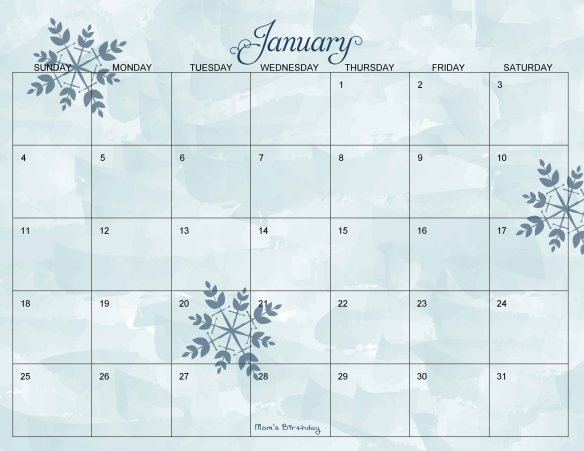 January Monthly Calendar Page